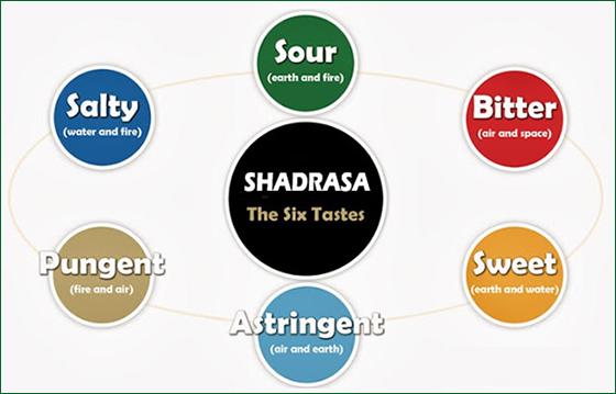 shadrasa, six tastes, 6 tastes, ayurveda