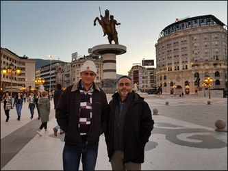 Dr. Vikram Chauhan (MD-Ayurveda)  with Mr. Jagjit Singh (Planet Ayurveda's Distributor in Fresno, California, USA) in Skopje, Macedonia (Birthplace of Alexander the Great)