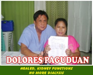 Dolores Paguduan (Healed, Kidney functions)