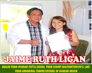 Jaime Rath Ligan (Healed from Ovarian Cyst, Kidney Malfunction and Abdominal Tumore of ovarian origin