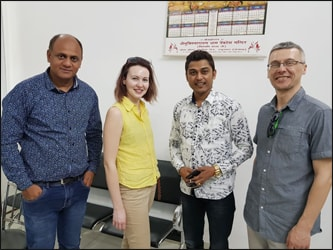 Dr. Vikram Chauhan (MD-Ayurveda) with Mr. Alexander and his wife Ms. Susan (Planet Ayurveda's Distributor in Latvia) along with Mr. Feroz Khan (Famous Punjabi Singer) at Planet Ayurveda Head Office, India.