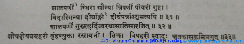 Ancient Verse about Desmodium Gangeticum