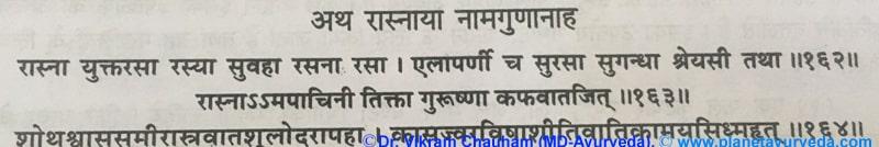 Ancient verse about Rasna (Alpinia Galanga)