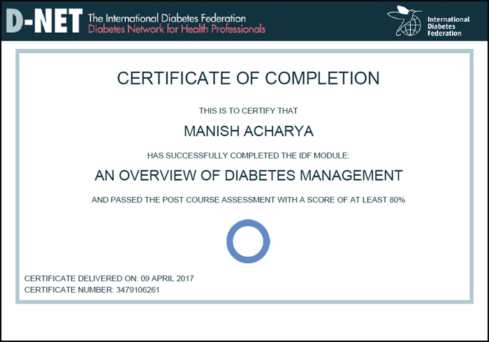 Certificate of Manish Acharya - International Diabetic federation (Diabetic Management)