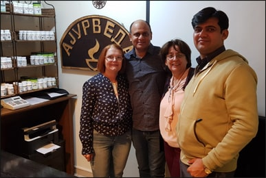 Dr. Vikram Chauhan with Ms. Divna Shipovikj and Ms. Karolina Kichevska at Planet Ayurveda Centre, Macedonia