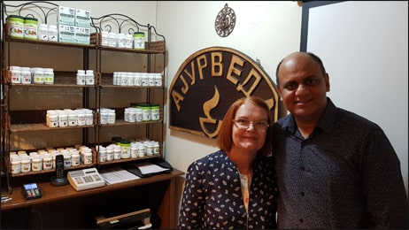Dr. Vikram Chauhan with Ms. Divna Shipovikj at Planet Ayurveda Centre, Macedonia