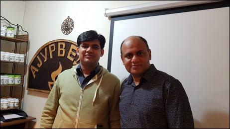 Dr. Deepam Batta with Dr. Vikram Chauhan at Planet Ayurveda Centre, Macedonia