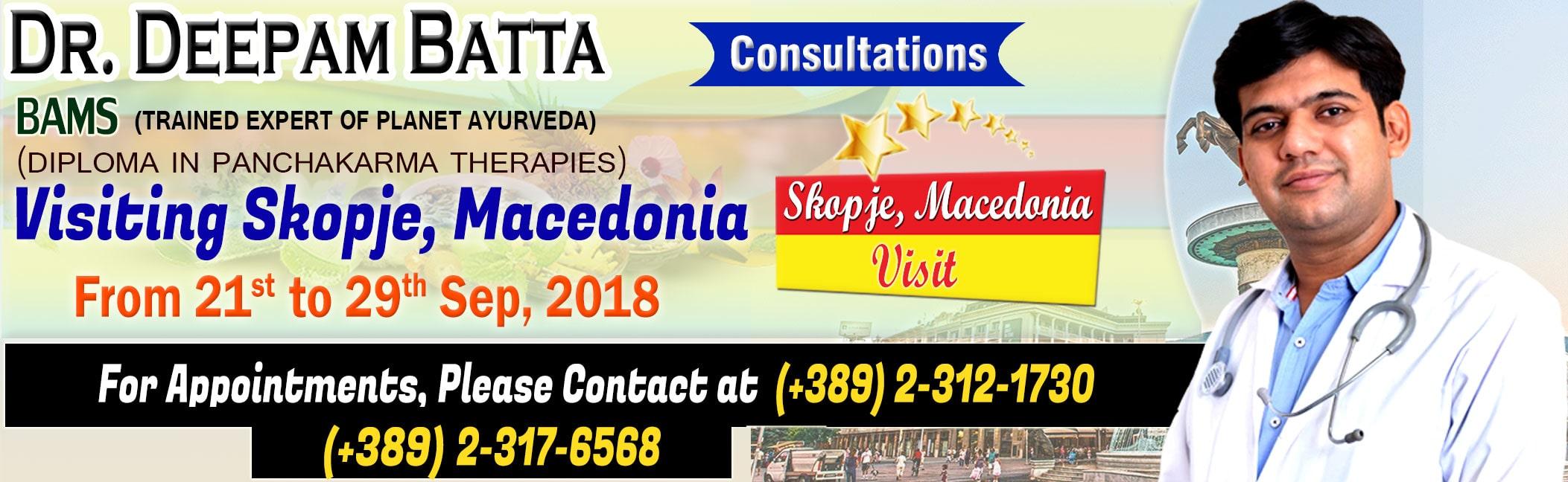 ayurvedic treatment, ayurvedic consultations, macedonia, skopje, Dr Deepam Batta events