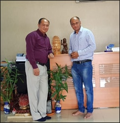 Dr. Vikram Chauhan (MD-Ayurveda) with Dr. Keang Seng (Planet Ayurveda Products Distributor in Phnom Penh, Cambodia)