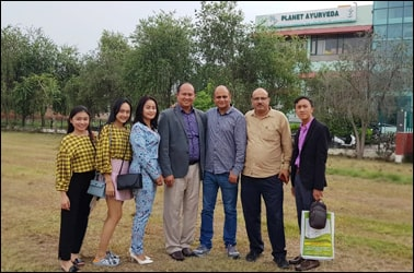 Dr. Vikram Chauhan (MD-Ayurveda) with Dr. Keang Seng (Cambodian Distributor) and his family alongwith Mr. Anil Thakur (Delhi Distributor) at Planet Ayurveda Centre, India