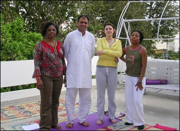 Dr. Vikram Chauhan with People from Armenia and Africa after Yoga Class