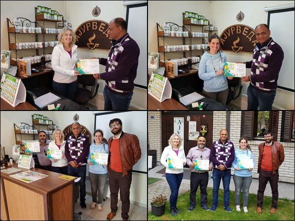 Dr. Vikram Chauhan with his students from USA, Slovakia and Macedonia at Planet Ayurveda Center in Skopje, Macedonia after presenting certificates of ayurveda training given by him from 27th March to 9th April 2018.