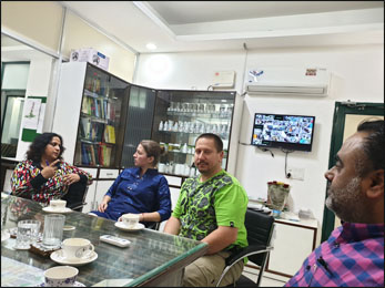 Dr. Meenakshi Chauhan explaining benefits of various herbs to Planet Ayurveda's Distributors from Slovakia and USA