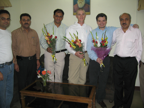 Vaidya Anthony with the Principal of an Ayurvedic institute in India and other doctors