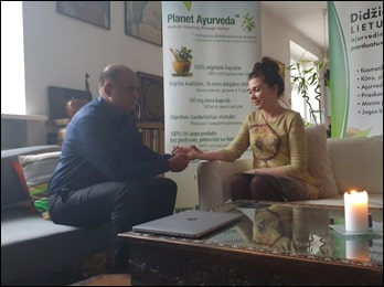 Dr. Vikram Chauhan during Ayurvedic Consultation in Vilnius, Lithuania