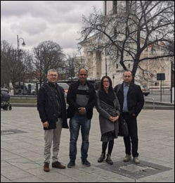 Dr. Vikram Chauhan in Vilnius, Lithuania with Mr. Alex (Latvian Distributor) and Andrius (Lithuanian Distributor)