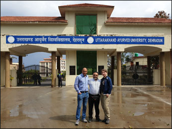 Dr. Vikram Chauhan (MD-Ayurveda) with Planet Ayurveda's Distributors from Slovakia and USA at Uttarakhand Ayurved University, Dehradun