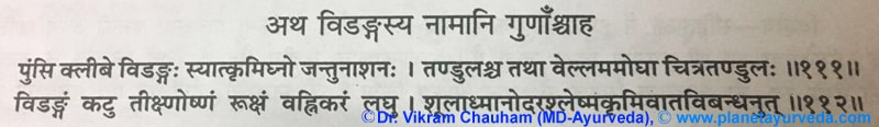Ancient verse about Vidanga (Embelia ribes)