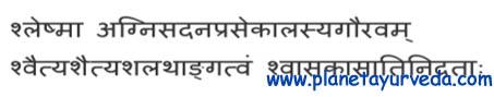 Shloka on vitiation of Kapha Dosha