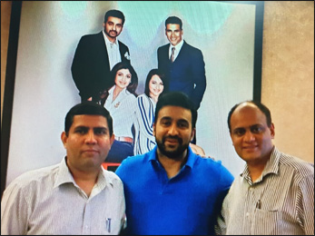 Dr. Vikram Chauhan (MD-Ayurveda) and Mr. Ashwani Thakur (General Manager of Planet Ayurveda) with Mr Raj Kundra