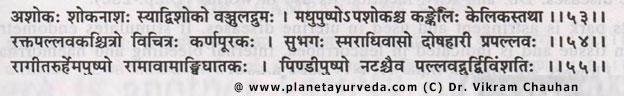 Ashoka Synonyms as per Raj nighantu