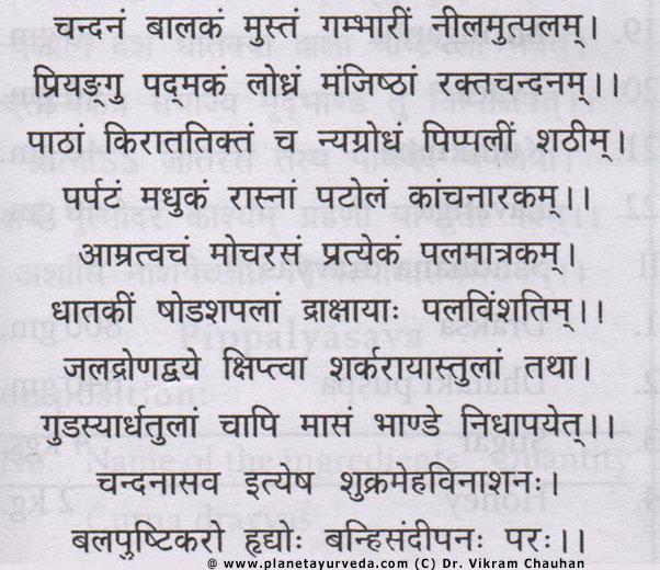 Chandanasavam - classical formulation