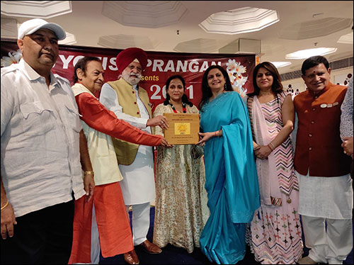Dr. Meenakshi Chauhan being Awarded by Rana Gurjeet Singh (Current MLA and current Cabinet Minister of Punjab in from Kapurthala Assembly Constituency)